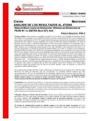 cintra mantener análisis de los resultados al 4t2005 ... - Santander