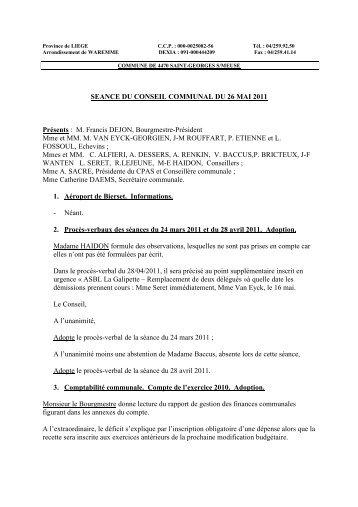 Conseil communal 26 mai 2011 - Saint-Georges-sur-Meuse