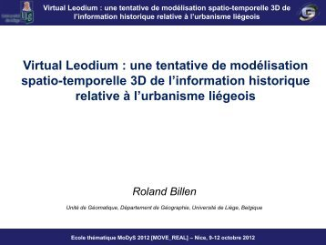 Virtual Leodium : une tentative de modélisation spatio-temporelle ...