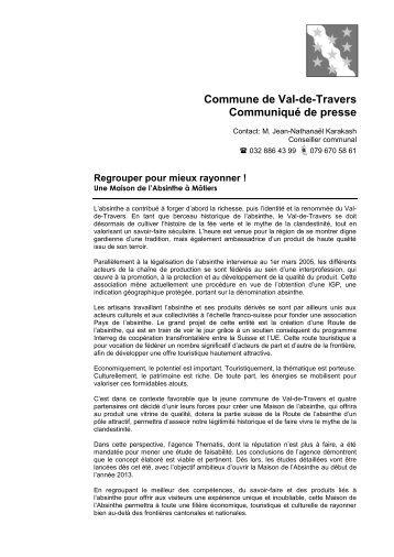 Communiqué de presse - Val-de-Travers