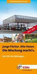 CDU Broschüre zur Gemeinderatswahl 2009 in Böblingen zum ...