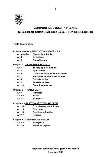 commune de lussery-villars reglement communal sur la gestion des ...