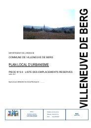 Liste des Emplacements Réservés - Villeneuve de Berg