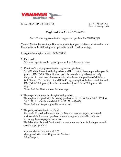 Regional Technical Bulletin - Mastry Engine Center