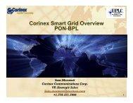 Corinex Smart Grid Overview PON-BPL - Utilities Telecom Council