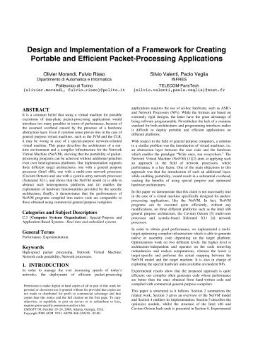 Design and Implementation of a Framework for Creating Portable ...