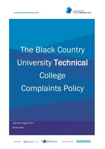 The Black Country University Technical College Complaints Policy