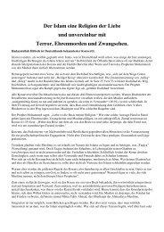 Der Islam eine Religion der Liebe und unvereinbar mit Terror ...