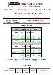 JOURS DE CIRCULATION 2009 T A R I F S - Avignon et Provence