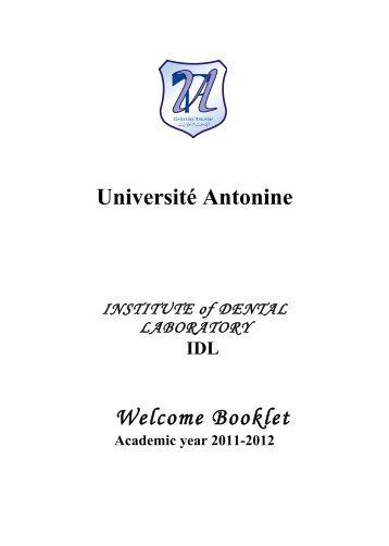 Livret IDL 2011-2012 en anglais Maya-OK - Université Antonine