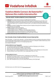 Infodok 527: Vodafone Mobile Connect: die Datentarife/-Optionen ...