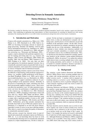 Detecting Errors in Semantic Annotation - DECCA project