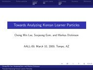 Towards Analyzing Korean Learner Particles