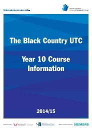 Y10 Course Information - Black Country University Technical College
