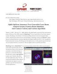 Ophir-Spiricon Announces Next Generation Laser ... - Ophir Optronics