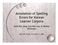 Annotation of Spelling Errors for Korean Learner Corpora