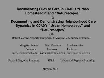 Urban Homesteads - Graham Sustainability Institute - University of ...