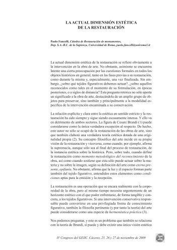 La actual dimensión estética de la restauración - Grupo Español IIC