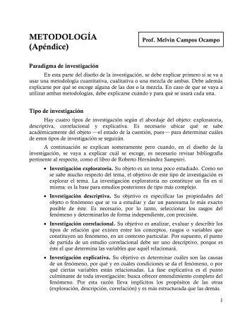 METODOLOGÍA. Apéndice adicional