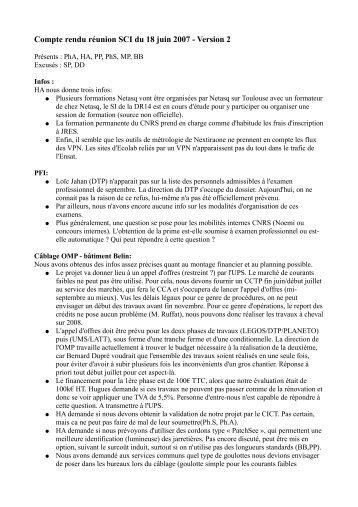 Compte rendu réunion SCI du 18 juin 2007 - Version 2 - EcoLab