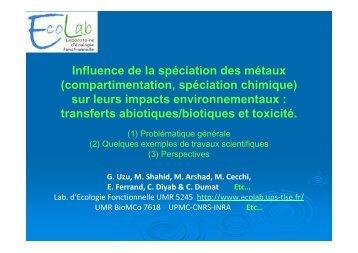 Influence de la spéciation des métaux (compartimentation ... - EcoLab