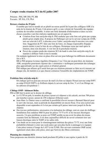 Compte rendu réunion SCI du 02 juillet 2007 - EcoLab