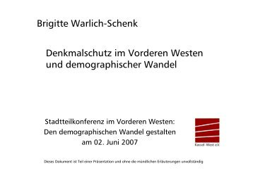 Brigitte Warlich-Schenk Denkmalschutz im Vorderen Westen und ...