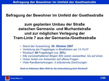 Befragung der Bewohner im Umfeld der Goethestraße zum - PGN