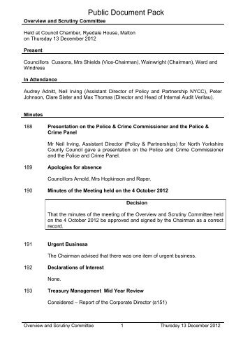 Minutes Public Pack, 13/12/2012 Overview and Scrutiny Committee ...