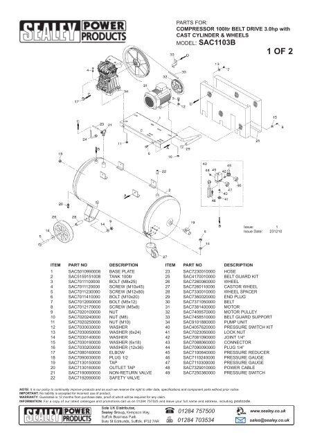 Sealey Compressor Parts Diagram