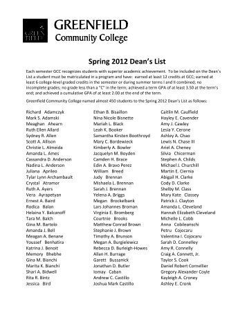 Spring 2012 Dean's List - Greenfield Community College