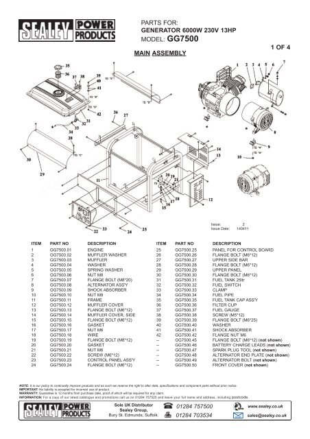 Parts For Generator 6000w 230v 13hp Tooled Up Com