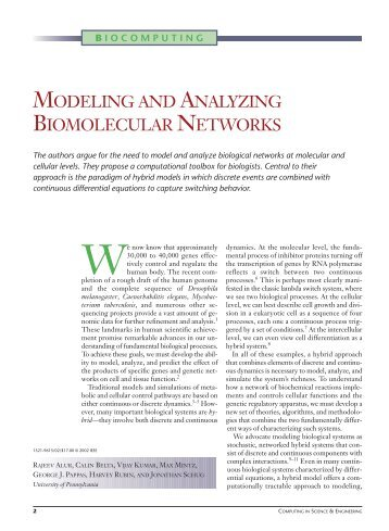modeling and analyzing biomolecular networks - Computational ...