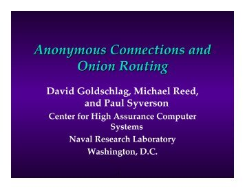 In a Public Network - Onion Routing