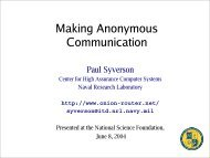 Anonymity and Tor, 04-04 - Onion Routing