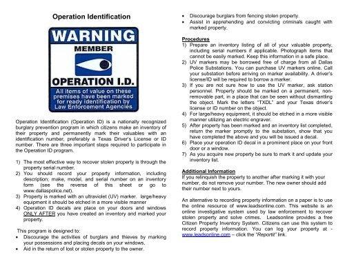 Operation Identification - Dallas Police Department