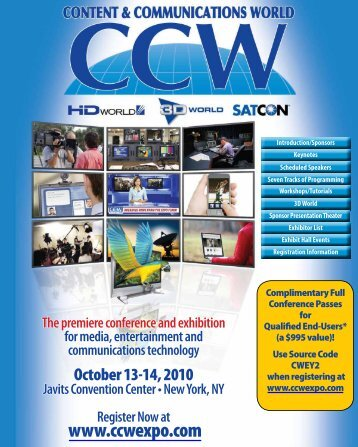 The premiere conference and exhibition for media ... - JD Events