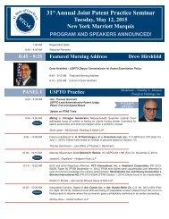 Joint Patent Practice Seminar