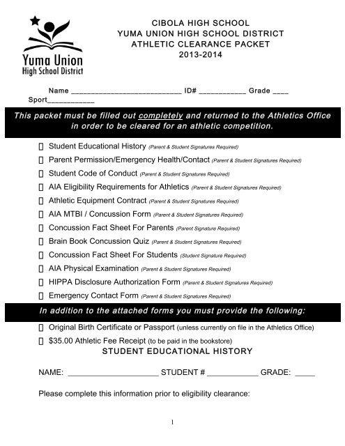 sports physical form aia  Sports Clearance Packet - Cibola High School - Yuma Union ...
