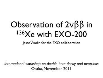 talk - International Workshop on Double Beta Decay and Neutrino