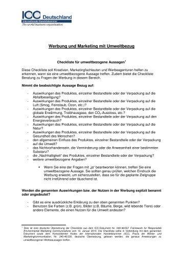 Werbung und Marketing mit Umweltbezug - ICC Deutschland