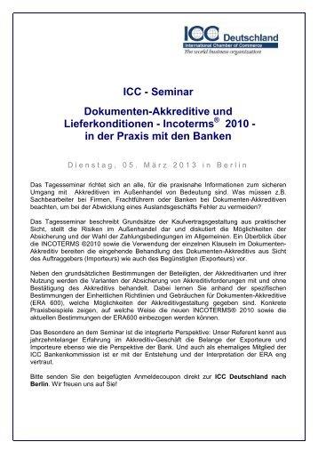 in der Praxis mit den Banken - ICC Deutschland