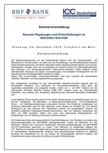 Seminarveranstaltung Neueste Regelungen und ... - ICC Deutschland