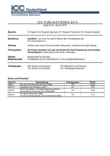 ICC Publikationen 2009_ab März - ICC Deutschland