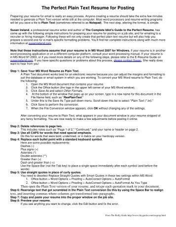 plain text resume sample how to create a plain text ascii resume