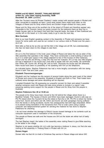 RAWAI and KO SIRAY, PHUKET, THAILAND REPORT written by ...