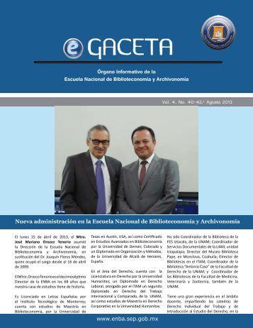 DESCARGAR eGACETA 40 - Escuela Nacional de Biblioteconomía ...