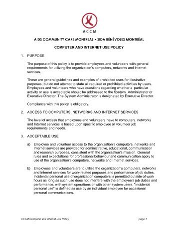 computer and internet use policy accmontrealorg