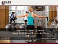 Asia Pacific Fitness Equipment Market Forecast 2014 - 2020
