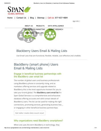 Buy Customized Blackberry Customer Mailing Lists from Span Global Services